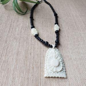 Vintage 1970s Floral Carved Bone Necklace